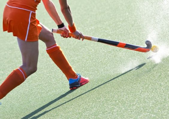 Women's sport hockey player