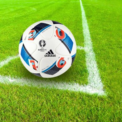 Football ball in the corner